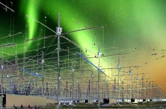 Conjunato de antenas do HAARP no Alasca