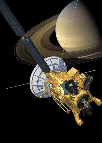 A Cassini, da NASA, ao redor do gigantesco planeta Saturno