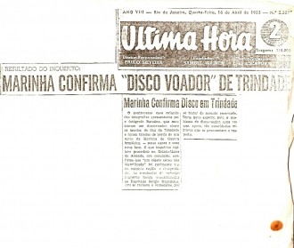 Ultima Hora journal, April 1958, confirms that the Navy\'s UFO Trindade